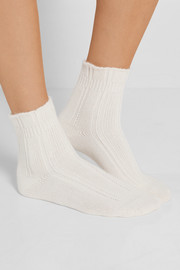 Bedsock set of two ribbed-knit socks