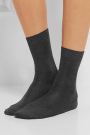 Set of two pointelle-knit silk-blend socks