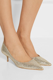 Jimmy Choo Aza glittered leather pumps