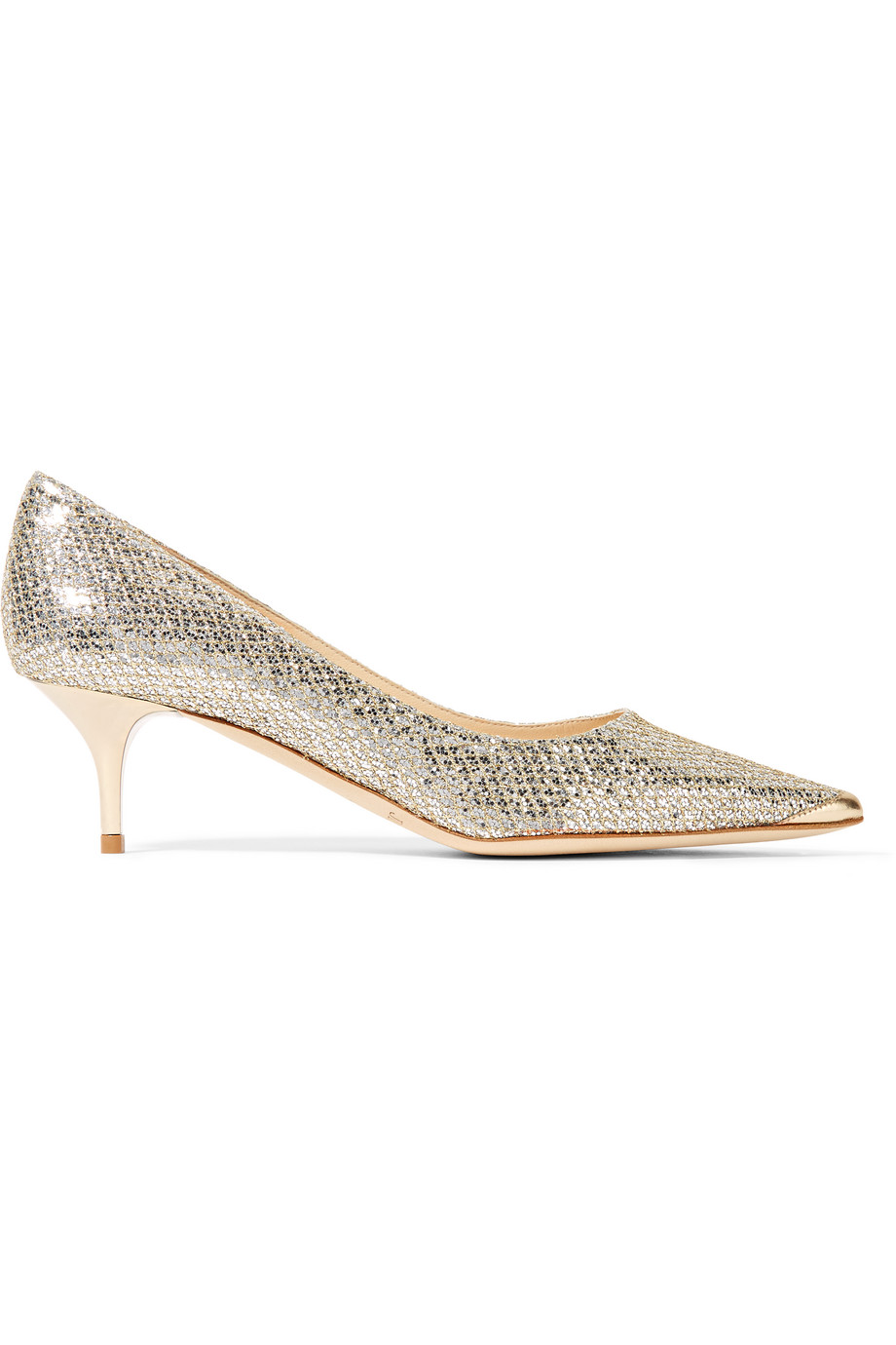 Jimmy Choo Aza Glittered Leather Pumps, Gold, Women's US Size: 6.5, Size: 37