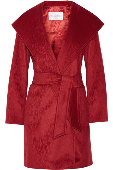Max Mara - Hooded Camel Hair Coat - Claret