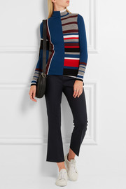Cropped stretch-wool flared pants