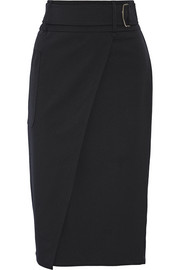 Wrap-effect stretch-wool twill pencil skirt