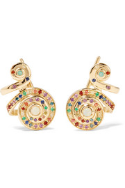 Moonshell 18-karat gold multi-stone earrings