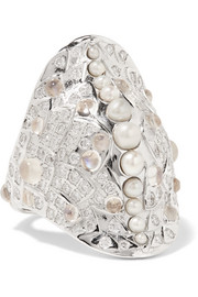 18-karat white gold multi-stone ring