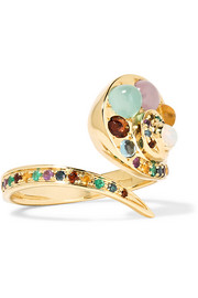 Moonshell 18-karat gold multi-stone ring