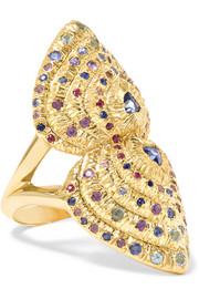 Bear Paw 18-karat gold multi-stone ring
