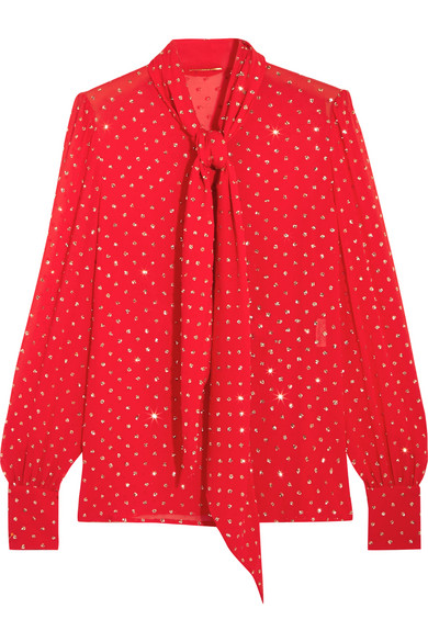 Saint Laurent - Pussy-bow Glittered Silk-georgette Blouse