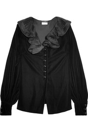 Saint Laurent Ruffled-collar velvet blouse