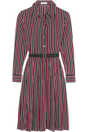 Shields belted striped washed-silk dress