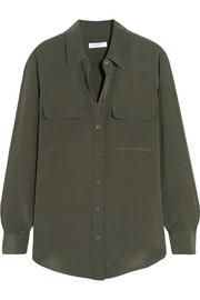 Slim Signature washed-silk shirt