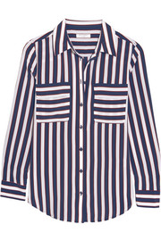 Slim Signature striped washed-silk shirt