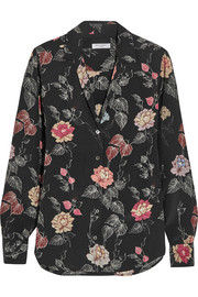 Adalyn floral-print washed-silk shirt