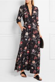 Major printed washed-silk maxi dress