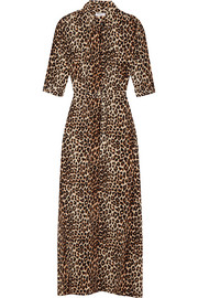 Major leopard-print washed-silk maxi dress