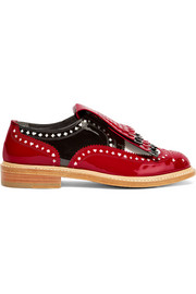 + Disney Royal laser-cut patent-leather brogues