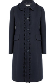 Ruffle-trimmed wool-crepe coat