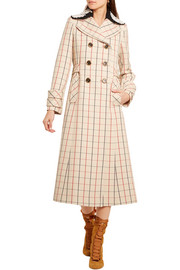Miu Miu Guipure lace-trimmed checked wool coat