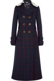 Guipure lace-trimmed checked wool coat