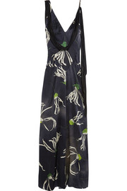 Printed silk-satin gown