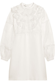 Miu Miu Ruffled silk-organza, lace and cady mini dress