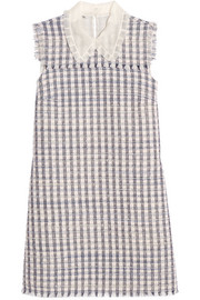 Miu Miu Silk organza-trimmed wool-blend tweed mini dress
