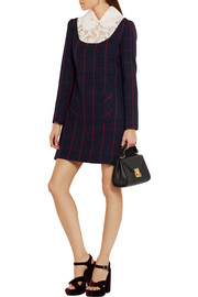 Miu Miu Guipure lace-paneled checked wool mini dress