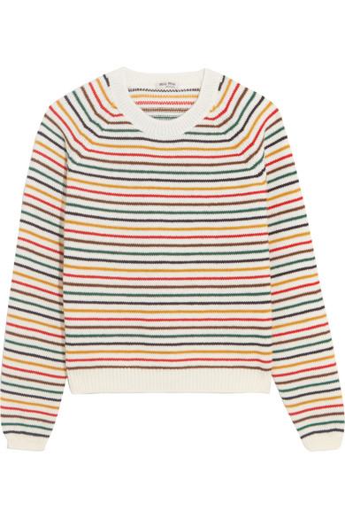 Miu Miu - Striped Wool-blend Sweater - Ivory