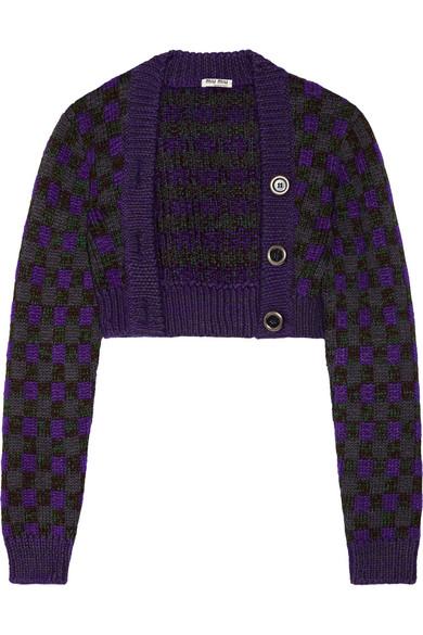 Miu Miu - Cropped Checked Wool-blend Cardigan - Purple