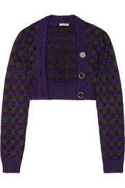 Miu Miu Cropped checked wool-blend cardigan