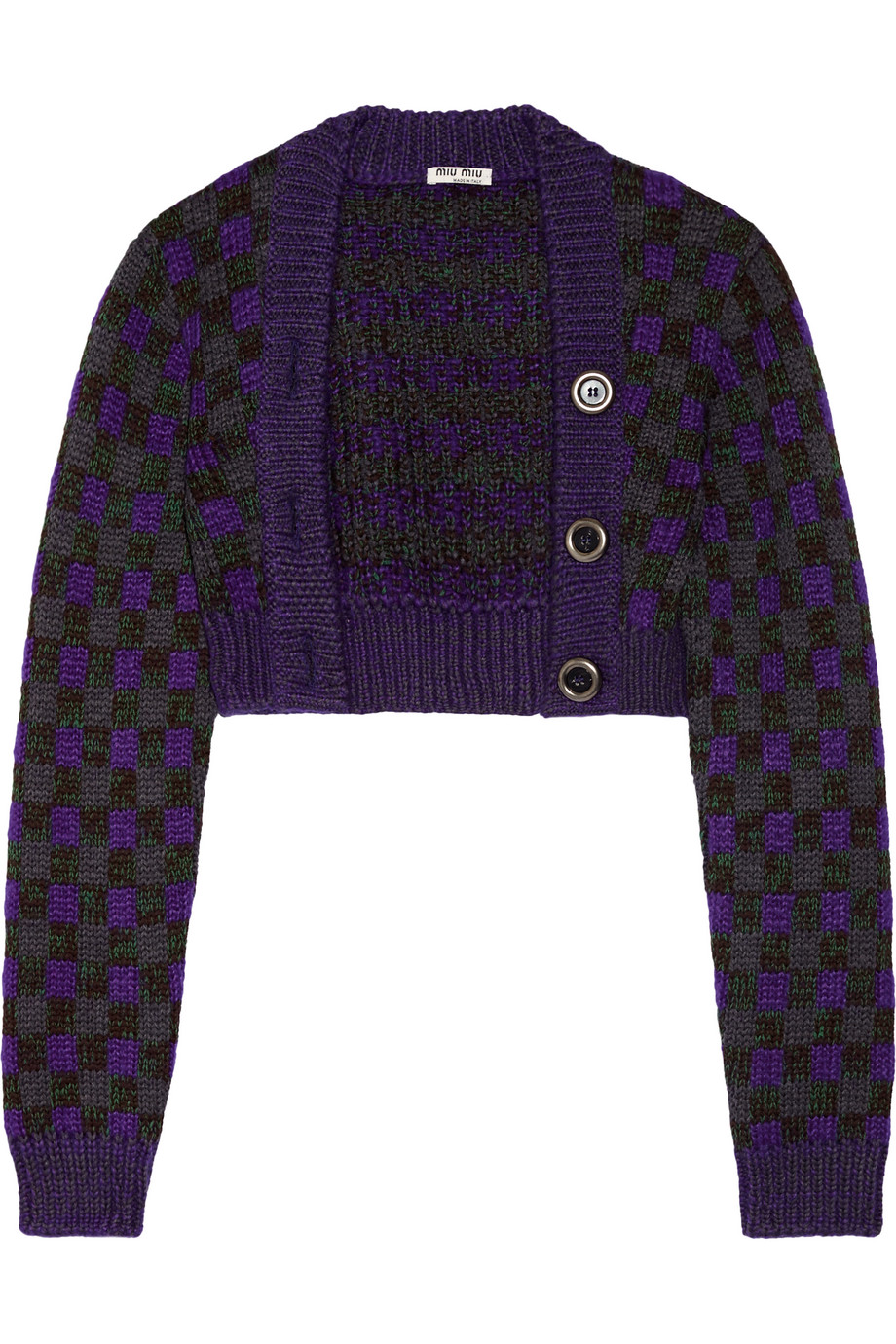 Miu Miu Cropped Checked Wool-Blend Cardigan, Size: 38