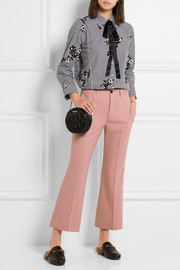 Cropped stretch-wool twill flared pants