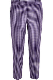 Miu Miu Cropped checked wool straight-leg pants