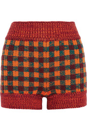 Miu Miu Checked wool-blend shorts