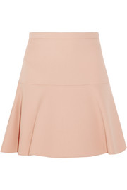 Miu Miu Fluted wool and silk-blend crepe mini skirt