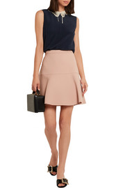 Fluted wool and silk-blend crepe mini skirt