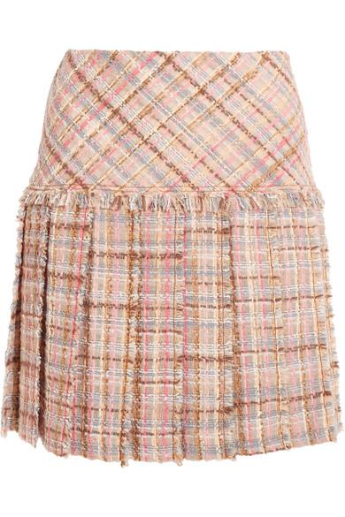Miu Miu - Pleated Wool-blend Tweed Mini Skirt - Blush
