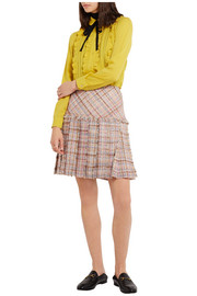 Pleated wool-blend tweed mini skirt