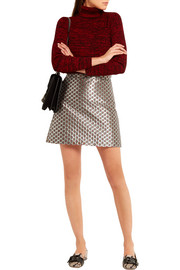 Floral-jacquard mini skirt