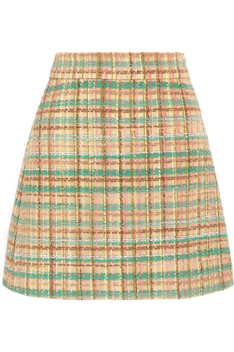 Miu Miu Checked Wool-Blend Tweed Mini Skirt, Size: 44