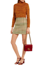 Miu Miu Checked wool-blend tweed mini skirt