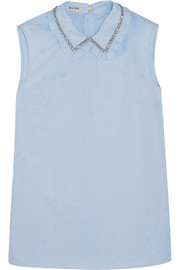 Embellished cotton-jacquard top
