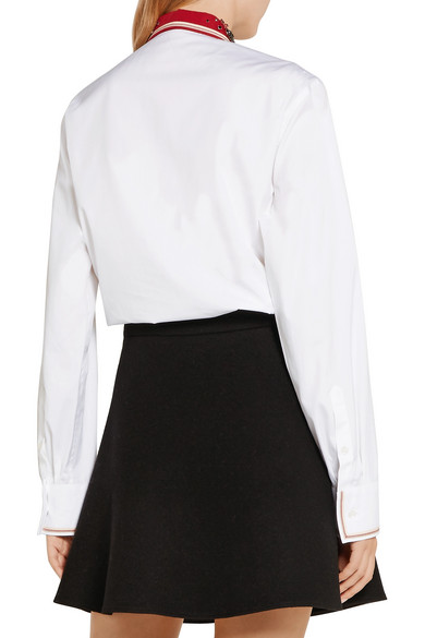 Miu Miu. Lace-paneled embellished cotton-poplin shirt. $1,132.50. Play.  Zoom In