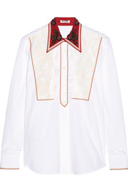 Lace-paneled embellished cotton-poplin shirt