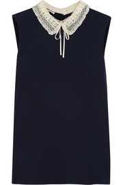 Miu Miu Lace-trimmed silk-crepe top