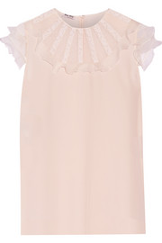 Miu Miu Lace and organza-trimmed silk crepe de chine blouse