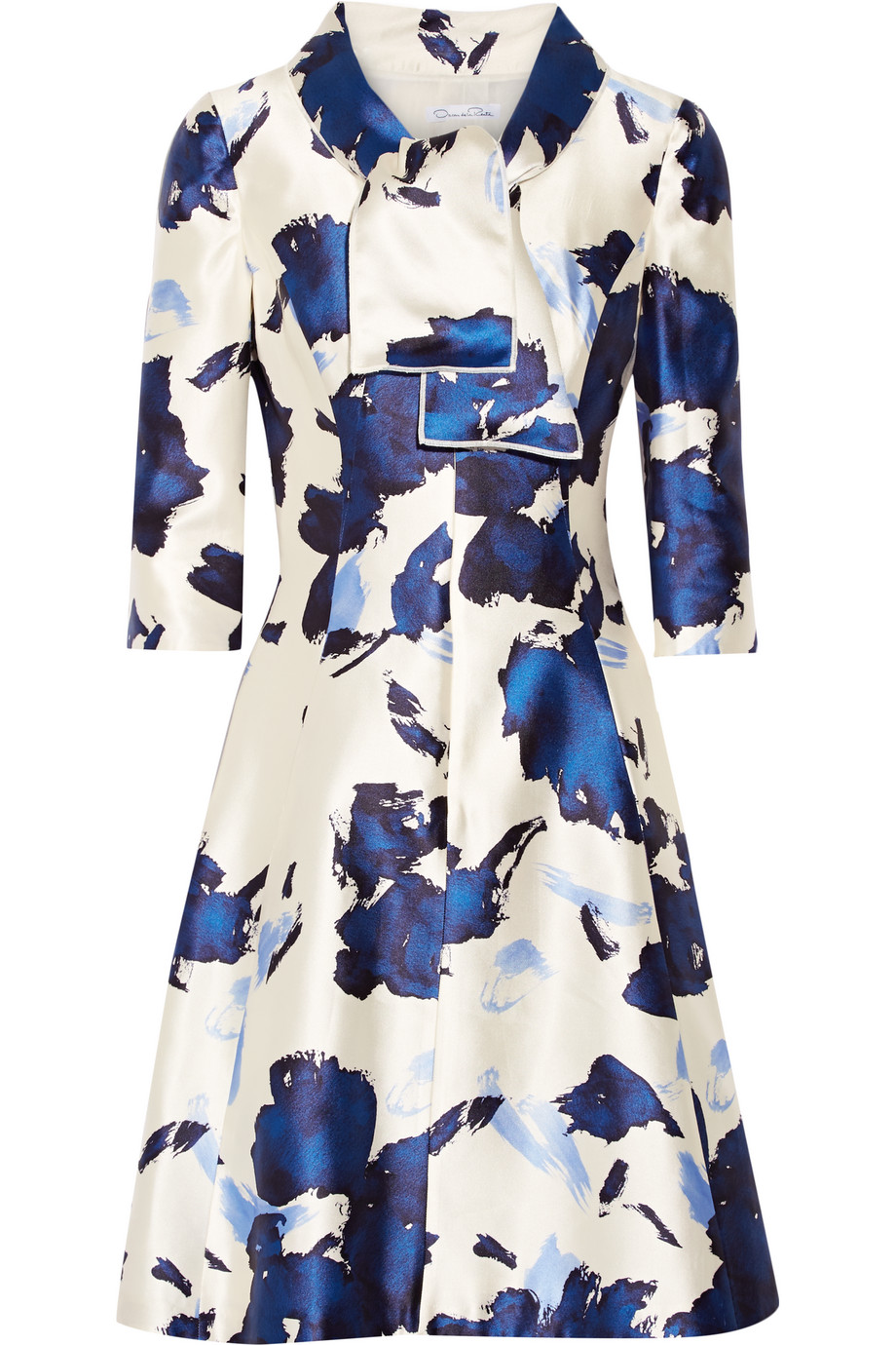 Oscar De La Renta Pussy-Bow Printed Silk-Faille Dress, Storm Blue, Women's - Printed, Size: 10
