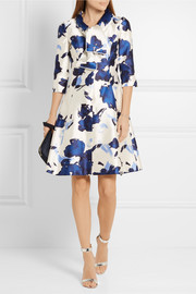 Oscar de la Renta Pussy-bow printed silk-faille dress