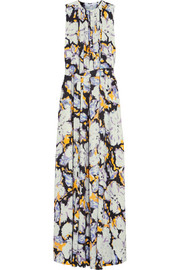 MSGM Belted printed silk gown