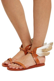 Ancient Greek Sandals + CARAVANA Ikaria Tulum feather-embellished leather sandals